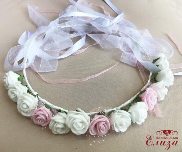 Венчета за коса с цветя  в бяло и розово